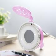 炫酷造型 粉色精灵 MM最爱 狮山多功能LED台灯带USB供电小风扇美容镜JW-1311